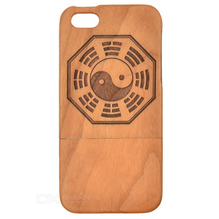Bagua Pattern Wooden Detachable Back Case for Iphone 5 - Brown + Black радиотелефон panasonic kx tg8551 белый kx tg8551ruw