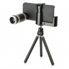 8X Rubber + Optical Glass Zooms Lens Camera Telescope w/ Back Case for Iphone 5 - Silver + Black