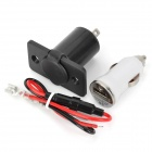 20872 Waterproof Vehicle Cigarette Lighter Socket + USB Car Charger Set - Black + White (12~24V)