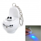 Toilet Ghost Style LED Blue Light Vocalization Keychain - White + Black (2 x AG13)
