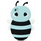 3D Cartoon Bee Stil Protective Silicone Case für iPhone 4 / 4S - Light Blue + Black + White