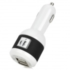 3408 Dual USB Port Car Cigarette Lighter Charger - Black + White