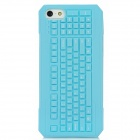 3D Keyboard Style Protective Silicone Back Case for Iphone 5 - Light Blue