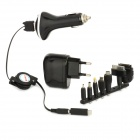 EU Plug + 8-in-1 Adapter + USB Car Charger for iPhone 5 / 4 / Samsung / HTC / BlackBerry - Black