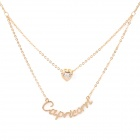 Double Pendant Crystal Gold Plated Necklace - Golden