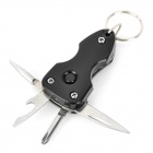 Multi-Functional Knife / Bottle Opener / Screwdriver / Keychain / LED Tool - Black + Silver