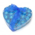 Romantic Heart Shaped 24-Soap Rose Flowers - Blue