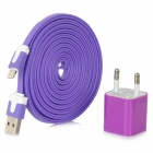 EU Plug Power Adapter + USB Male to 8pin Lightning Male Data Flat Cable for iPhone 5 + More - Purple