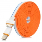 SHUS-21 USB Male to 30-pin Male Data Flat Cable for iPhone 4 + More - White + Blue + Orange (3m)