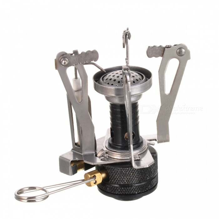 Portable Outdoor Stainless Steel Butane Gas Stove - Golden + Silver