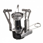 Portable Outdoor Stainless Steel Butane Gas Stove - Black + Silver