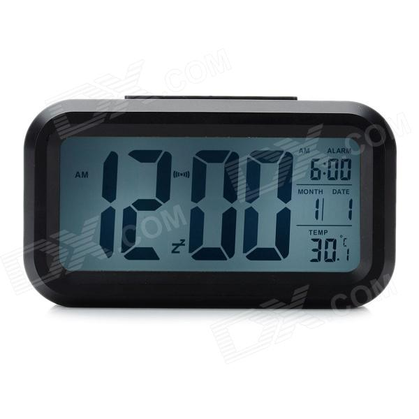 "JP9901 4.7"" LCD Multi-Function Night Vision Alarm Clock w/ Calendar / Thermometer - Black (3 x AAA)"