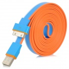 SHUS-20 USB Male to 30-pin Male Data Flat Cable for iPhone 4 + More - White + Blue + Orange (2m)