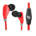 Wallytech WHF-108 Plastic In-ear Stereo Earphone w/ Microphone for Ipad / Ipod + More - Red + Black