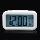 "JP9901 4.7"" LCD Multi-Function Night Vision Alarm Clock w/ Calendar / Thermometer - White (3 x AAA)"