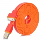 SHUS-20 USB Male to 30-pin Male Data Flat Cable for iPhone 4 / 4S + More - White + Red + Orange (2m)