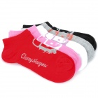 Cute Cartoon Pattern Women's Cotton Socks - Black + White + Light Grey + Pink + Red (5 Pairs)