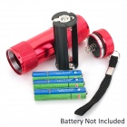 9-LED 60lm White Light Flashlight - Red (3 x AAA)