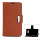 Protective Flip-Open PU Leather Case w/ Stand for Samsung Galaxy S4 i9500 - Brown + Black