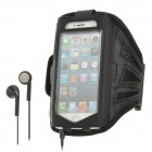Sport Protective Mesh Fabric + PVC Armband Case + Earphone w/ Microphone for iPhone 5 - Black