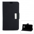 Protective Flip-Open PU Leather Case w/ Stand for Samsung Galaxy S4 i9500 - Black