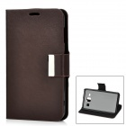 Protective Flip-Open PU Leather Back Case w/ Stand for Samsung Galaxy S4 i9500 - Deep Coffee + Black