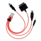 4-in-1 USB to Apple 30 Pin / Micro USB / Mini USB / Nokia 2.0 Charging Cable - Red + Black