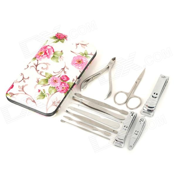 LiangYing LY-007 Portable 12-in-1 Stainless Steel Nail Manicure Tool Set w/ PU Leather Case - Silver 2016 new arrival 6pcs stainless steel nail clipper nipper cutter pedicure manicure tools set