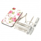 LiangYing LY-007 Portable 12-in-1 Stainless Steel Nail Manicure Tool Set w/ PU Leather Case - Silver