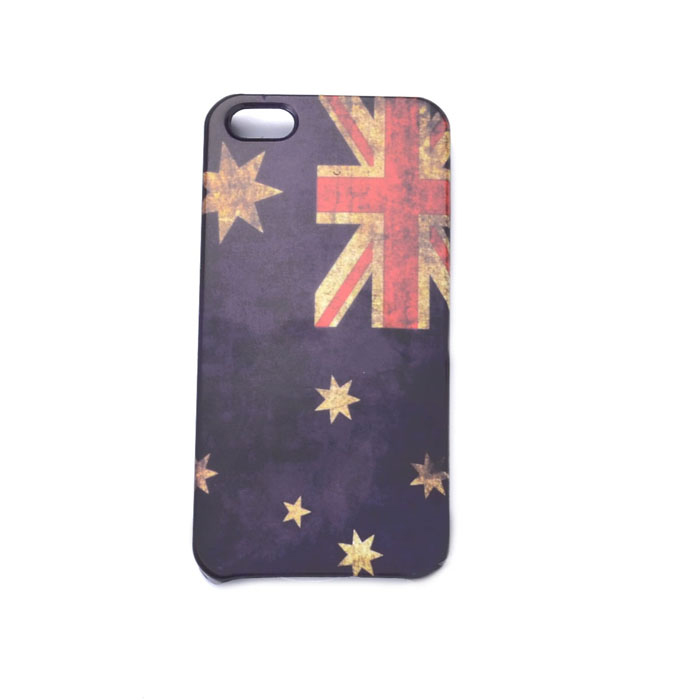 Retro Australian Flag Pattern Protective Plastic Back Case for Iphone 5 - Blue + Red + Yellow london pattern protective plastic back case w front screen protector for iphone 5 grey red
