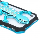 3D Gecko Style Plastic + Rhinestone Back Frame Case for Iphone 4 / 4S - Light Blue
