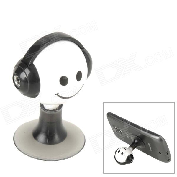 3.5mm Audio Jack Earphone Splitter Cable Adapter with Suction Stand - Black + White