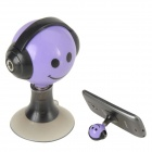 Audio Earphone Splitter Cable Adapter with Suction Stand - Black + Purple (3.5mm)