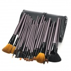 Professional 34-in-1 Wool Horsehair Fiber Cosmetic Makeup Brush Set w/ Bag - Black