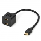 1080P HDMI 1.4 1-Male to 2-Female Splitter Adapter Cable - Black (28cm)