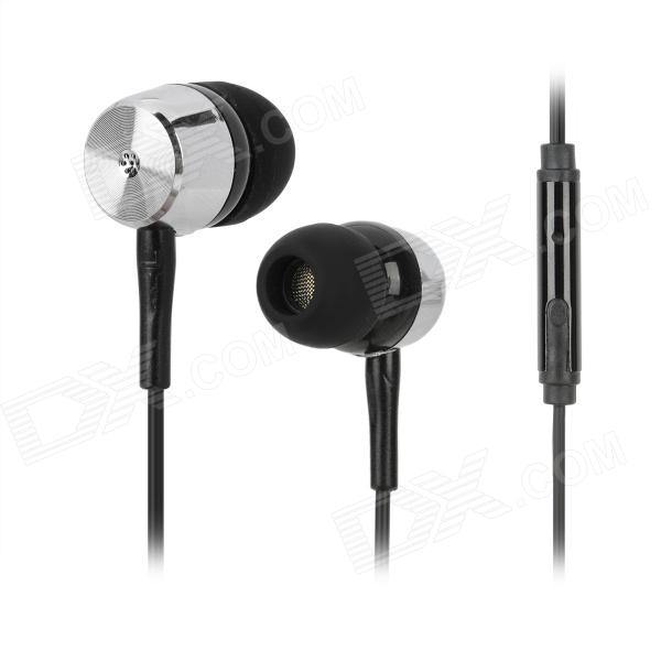 Kanen ip106 In-ear Earphone w/ Microphone for Iphone / HTC / Xiaomi - Black + Silver kanen i20 black