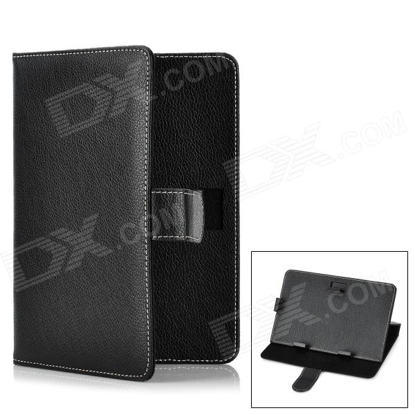 Protective Flip-Open PU Leather Stand Case for 7 Tablet PC - Black universal 61 key bluetooth keyboard w pu leather case for 7 8 tablet pc black