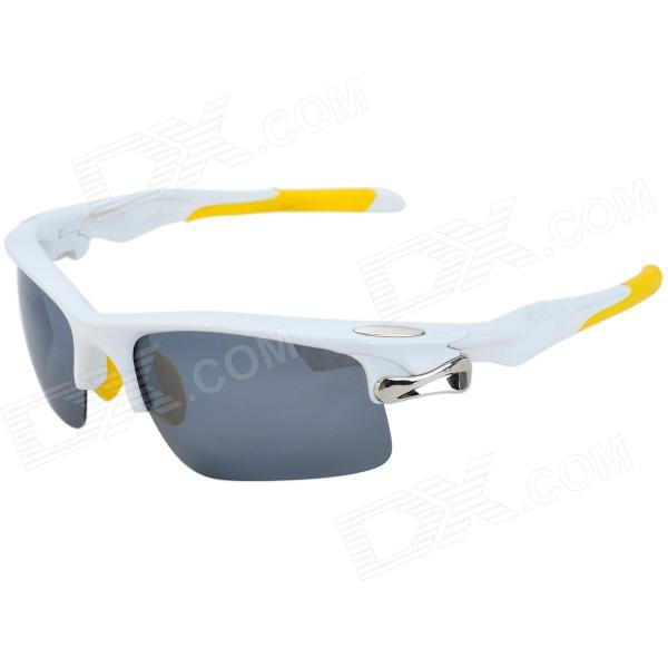 KaShiLuo 9158 Sports Riding Windproof UV400 Protection Polarized Sunglasses - White + Yellow