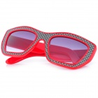 SENLAN 6081 Retro Leather Coated Design UV400 Protection PC Lens Sunglasses - Red + Black + Grey
