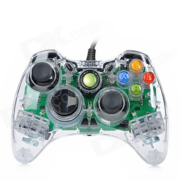 USB Wired Dual-Shock Game Controller JoyStick for Xbox360 / Xbox360 Slim - Transparent (280cm-Cable) little bee usb wired controller converter for xbox 360 to ps3 black