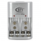 BTY N-802 EU Plug + Charger + 4 AAA for AA / 9V / Ni-MH / Ni-Cd Battery - Silver Grey (AC 100~240V)