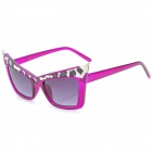 SENLAN 6149 Cat Eyes Style UV Protection PC Lens Sunglasses - Purple + Leopard Pattern