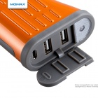 MOMAX iPower TOUGH 6000mAh Rechargeable Mobile External Battery Pack w/ LED Light - Orange + Grey