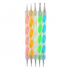 Nail Art Tool Dotting Painting Plastic + Iron Pens - Multicolored (5PCS / Pack)