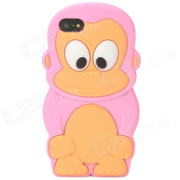 Cute 3D Monkey Style Protective Silicone Case for Iphone 5 - Pink cool skull head style protective soft silicone back case for iphone 4 4s pink