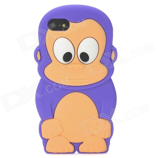 Cute 3D Monkey Style Protective Silicone Case for Iphone 5 - Dark Purple cute 3d monkey style protective silicone case for iphone 5 pink