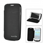 Notfall 2500mAh Power Akku Charger Case w / PU Front Cover für Samsung Galaxy S3 i9300 - Black