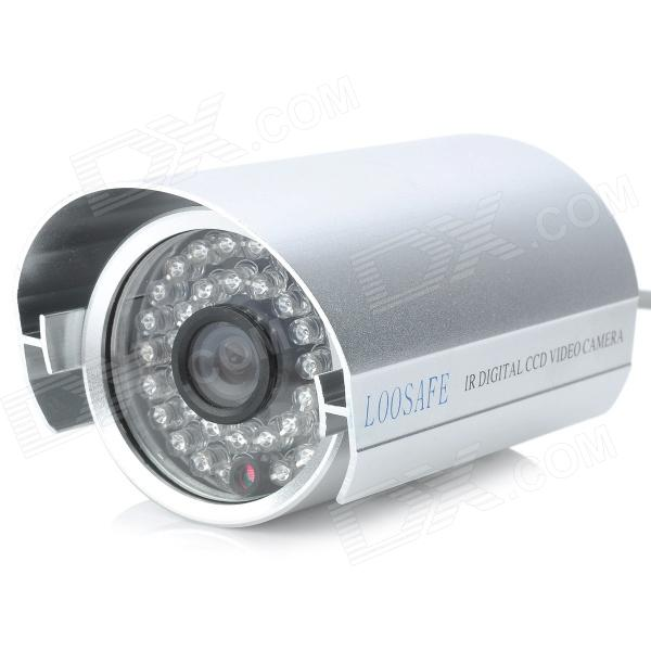 loosafe LS-H820X 3.6mm 1/4 CCD Waterproof Security CCTV Camera w/ 36-IR LED Night Vision - Silver