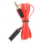 Piso 3.5mm macho a 3.5mm hembra Audio Extension Cable - Rojo + Negro