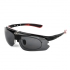 Panlees SP015 Outdoor Sports UV400 Protection Cycling Glasses w/ 2 Replaced Lens - Black + Red
